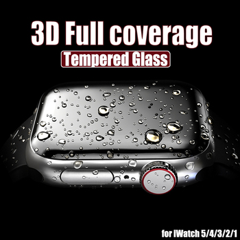 3D Full Cover Tempered Glass for Apple Watch Series 3 2 1 38MM 42MM Screen Protector for iWatch 4 5 40MM 44MM Full Glue Glass 3d curved full cover tempered glass film for apple watch 40mm band flim screen protector for iwatch series 4
