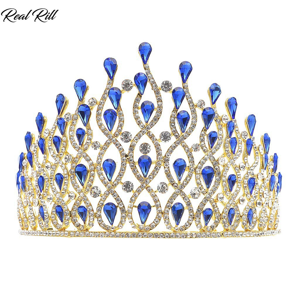 Real Rill Fashion Luxury Rhinestone Crystal Crown Headband Bridal Tiara Headpieces Wedding Accessories for Bride