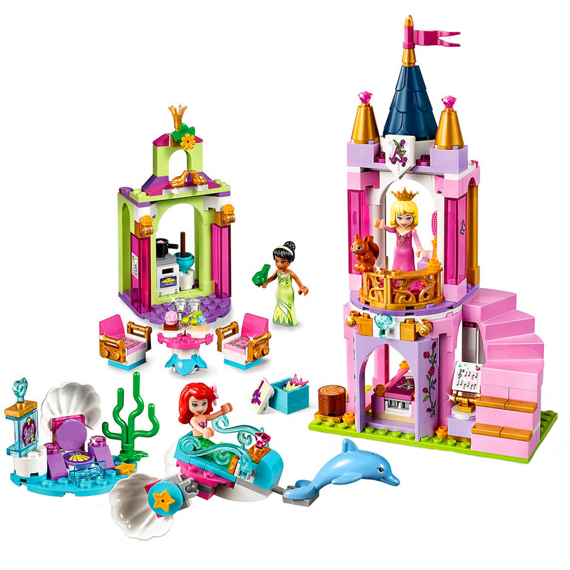 LARI 11177 300Pcs Princess Ariels Aurora And Tiana's Royal Celebration Building Blocks Toys Constuction 41162 Gift For Children