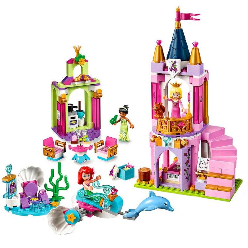LARI 11177 300Pcs Princess Ariels Aurora And Tiana's Royal Celebration Building Blocks Toys Constuction 41162 Gift For Children