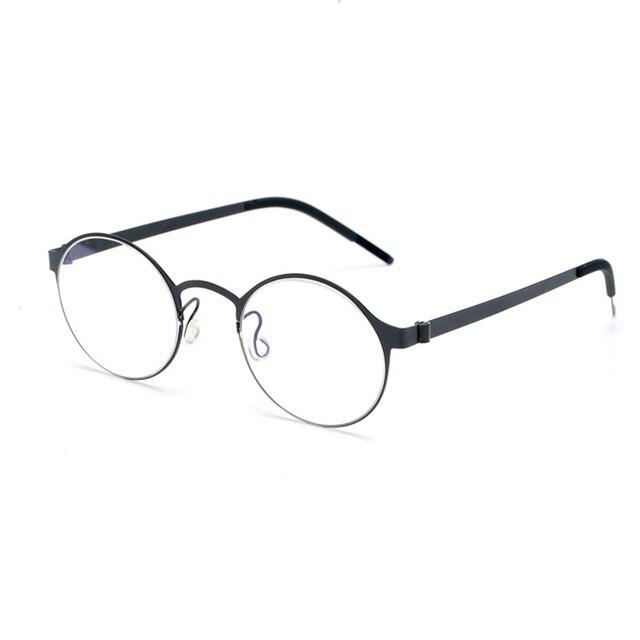 טהור בעבודת יד טיטניום משקפיים מסגרת גברים בציר עגול לא בורג Eyewear מרשם אופטי מותג משקפיים מסגרת נשים