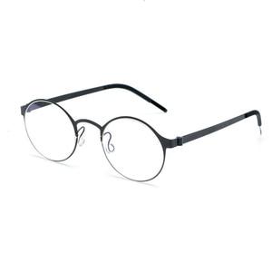 Image 1 - Pure Hand made Titanium Glasses Frame Men Vintage Round No Screw Eyewear Optical Prescription Brand Eyeglasses Frame Women
