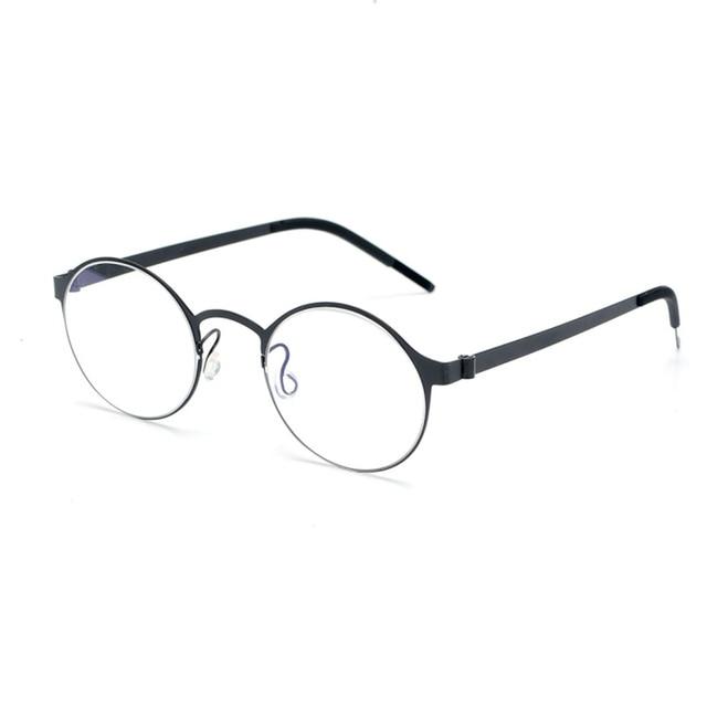 Pure Hand made Titanium Glasses Frame Men Vintage Round No Screw Eyewear Optical Prescription Brand Eyeglasses Frame Women