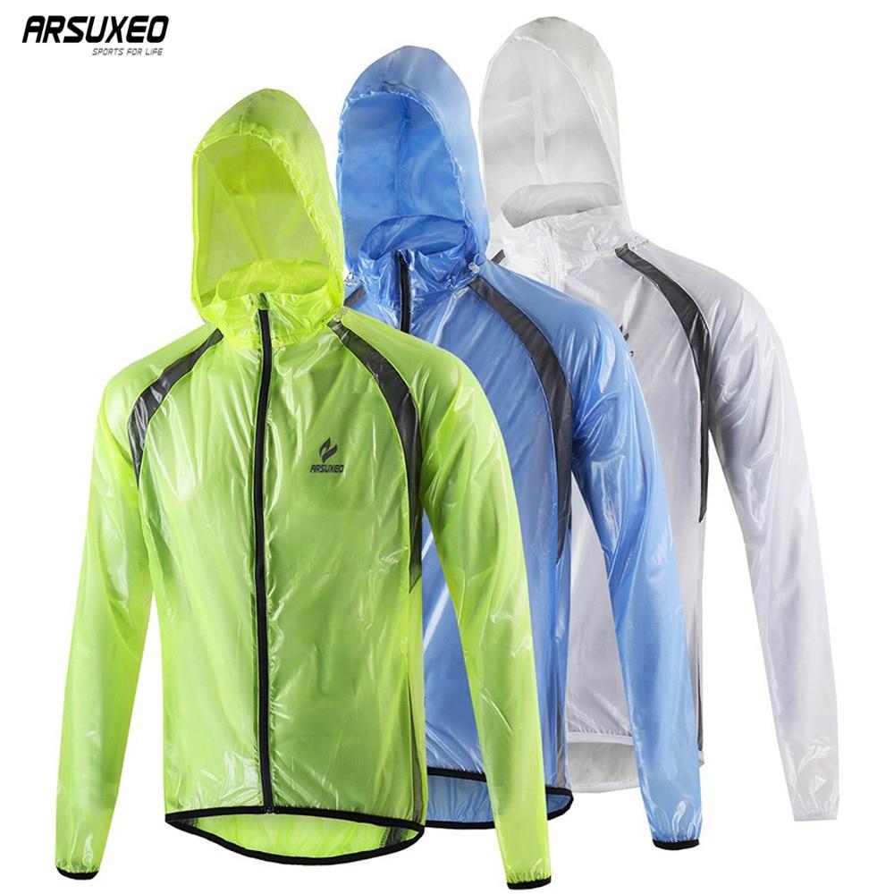 ARSUXEO Ultra Light Thin Cycling Rain Jacket Waterproof Windproof Sports Running Windbreaker MTB Bike Rain Coat Bicycle Clothing