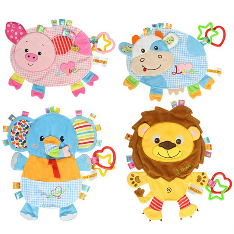 Baby Soft Plush Towel Rubber Ring Comfort Doll Lion Pig Elephant Animal Rattles Multifunctional Toy Baby Towel Puppet