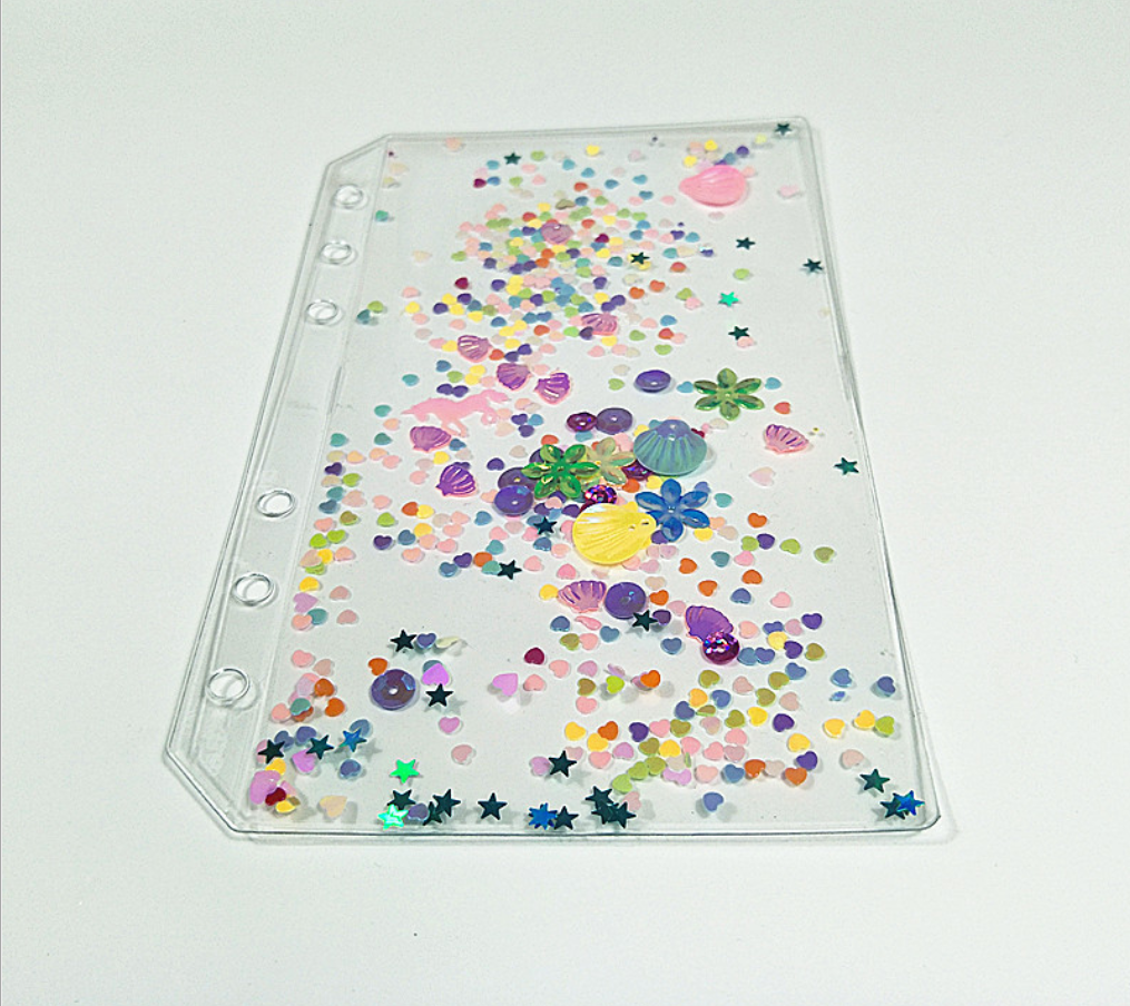 A6 PVC Planner's Cute Sequin Loose Leaf Storage Bag Diary Binder Planner 6 Holes Filler Separator Board Page Bullet Journal