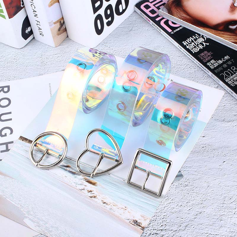 Fashion New Laser Women Belt Holographic Clear Waist Belt Metal Transparent Waist Belts For Women Belt Waistband 120cm
