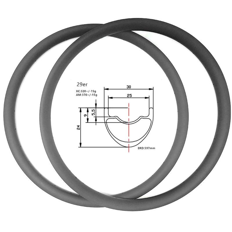 29er carbon mtb disc rims 30x24mm tubeless bicycle rim 320g disc mtb rims aro 29 mtb rodas mtb 29 ERD 597mm