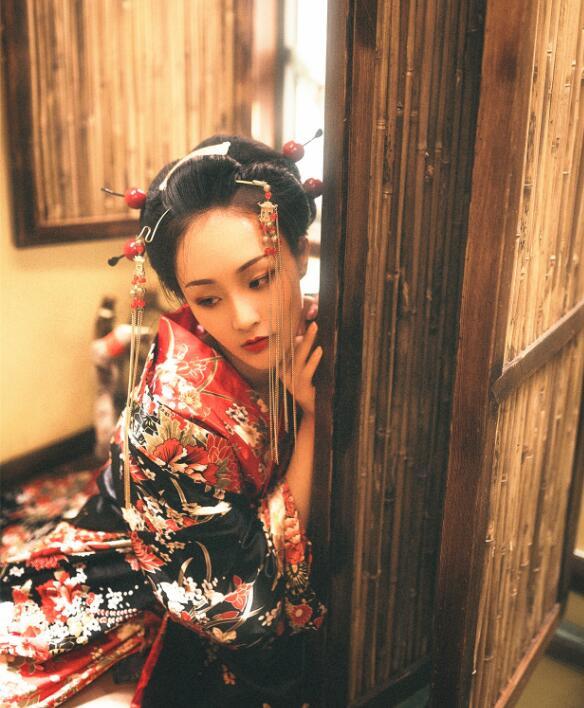 Original Japanese Kimono Plum Flower Woman Stage Performance Coat Spring Summer Outer Garment+Waistband