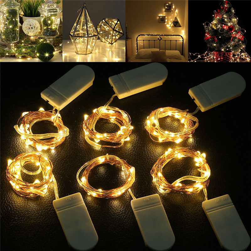 5M 3M 2M 1M LED String Lights For Christmas New Year Party Wedding Home Decoration Photo Clip Holder Fairy Lights Battery