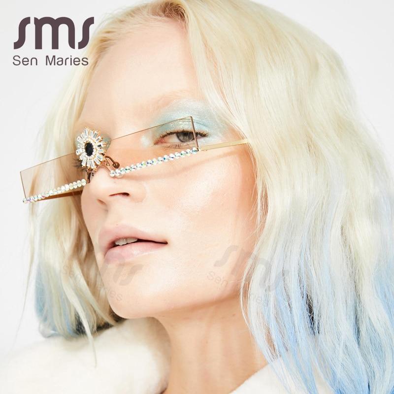 Sen Maries Fashion Small Diamond Sunglasses Women Luxury Brand Colorful Rhinestone Flower Crystal Rimless Sun Glasses For Female