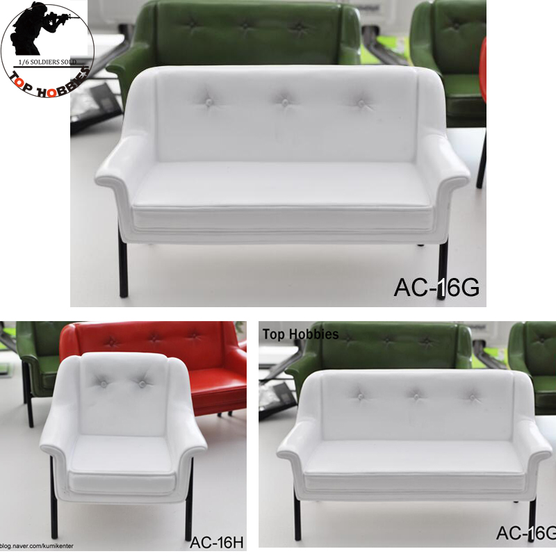 KUMIK 1/6 Scale Scene Accessories AC-16 Dolls 12Inch Action Figure Retro White Long/Short Armchair/Sofa/Bench Model for DIY Toys