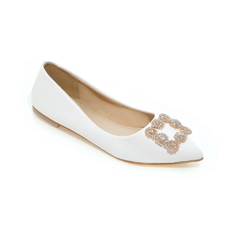 Big Size Pointed water drill buckle single shoe  summer flat ladies women shoes woman