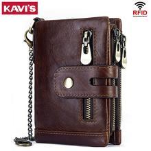 KAVIS Rfid, portefeuille en cuir de vache véritable pour hommes, porte monnaie, Cuzdan, portefeuille Portomonee, petit mini, portefeuille de poche, avec loquet