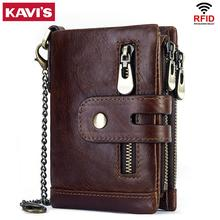 Kavis rfid本物の牛革財布メンズコイン財布男性cuzdanブリーフケースポートフォリオマンportomonee小さな最小waletポケットファッションハスプ
