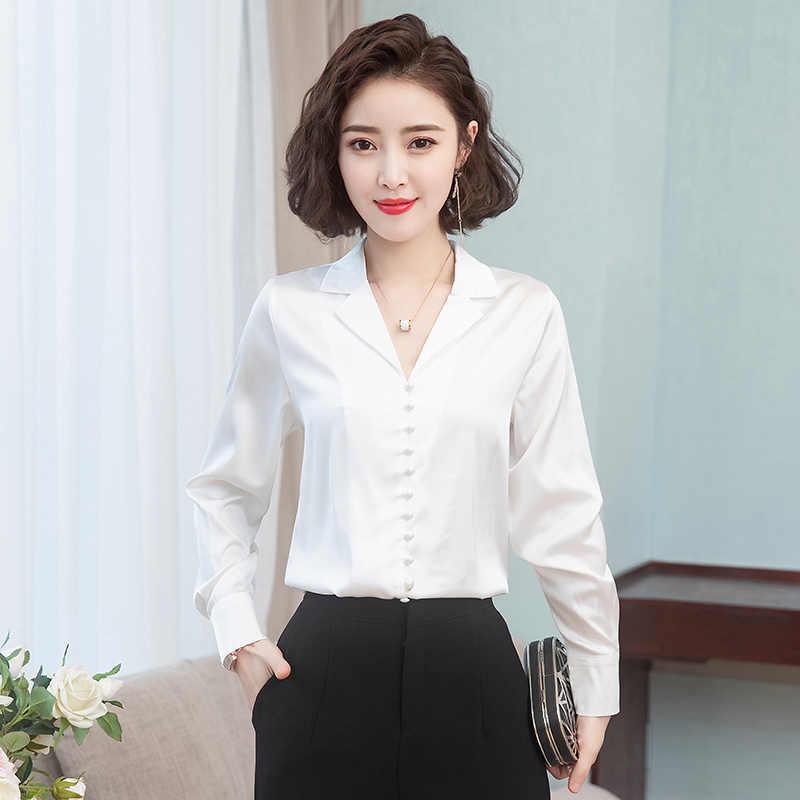 Wiosna koreański moda jedwabne damskie bluzki satynowe solidne damskie topy i bluzki Plus rozmiar XXXL różowe koszule damskie z długim rękawem