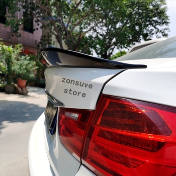 Use For F30 Bmw 3 Series 2013--18 Year Spoiler Psm Style ABS Plastic Carbon Fiber Look Rear Trunk Wing Car Body Kit Accessories image