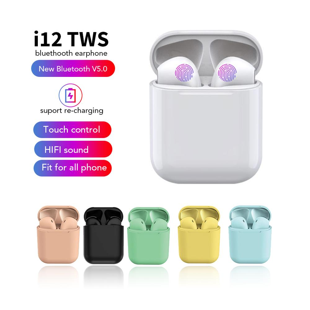 i12 tws Bluetooth 5.0 Earphones Wireless Earbuds Hands free Business Earpieces Sport Headset Bluetooth music Headphones Earbuds image