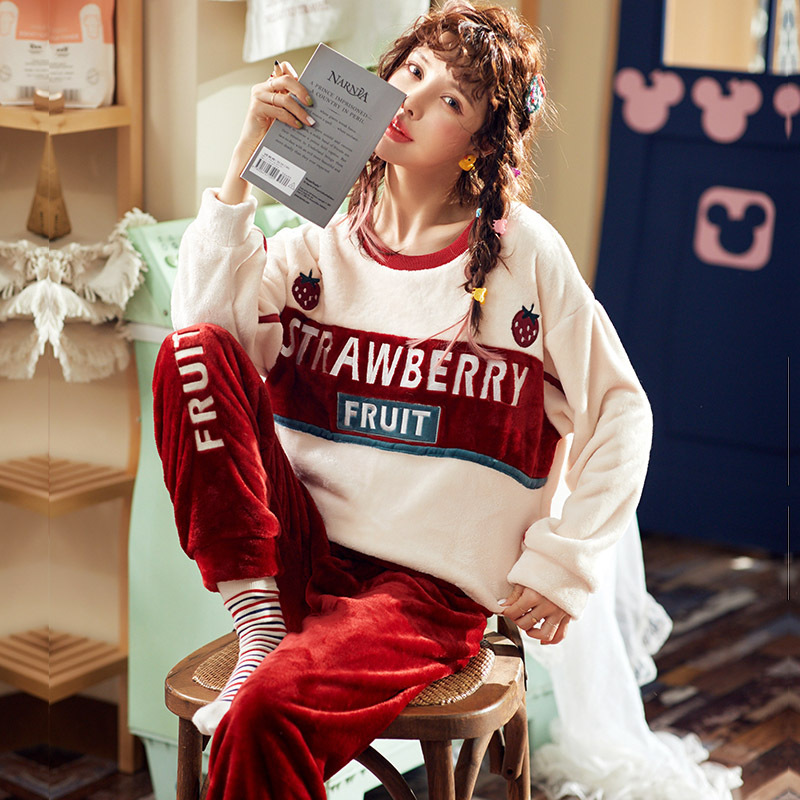 High Quality Women Pajama Sets Winter Soft Thicken Cute Cartoon Flannel Sleepwear 2 pcs/Set Tops + Warm Pants Home Clothes Mujer 29