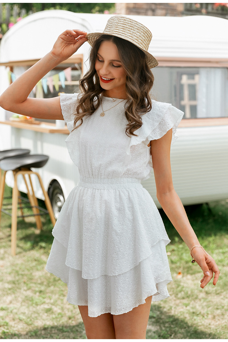 Crew Neck Ruffle Boho Sleeveless Lace Dress