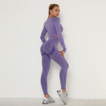 Seamless Women Sport Set For Gym Long Sleeve Top High Waist Belly Control Leggings Clothes Seamless Sport Suit Sexy Booty Girls 4