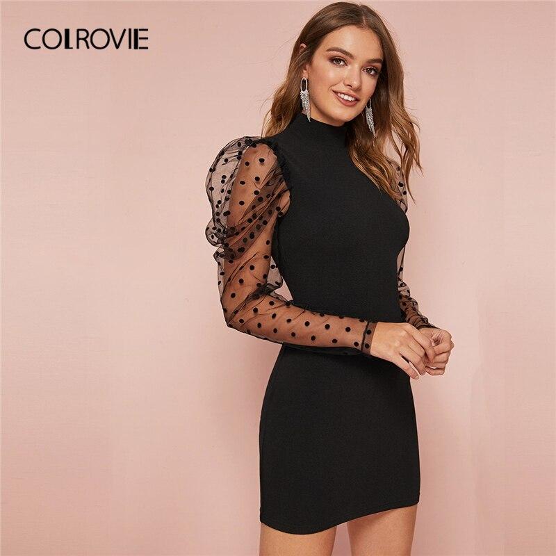COLROVIE Black Mock-Neck Dobby Mesh Puff Sleeve Bodycon Dress Women Sexy Mini Dress Spring Slim Fit Elegant Pencil Dresses