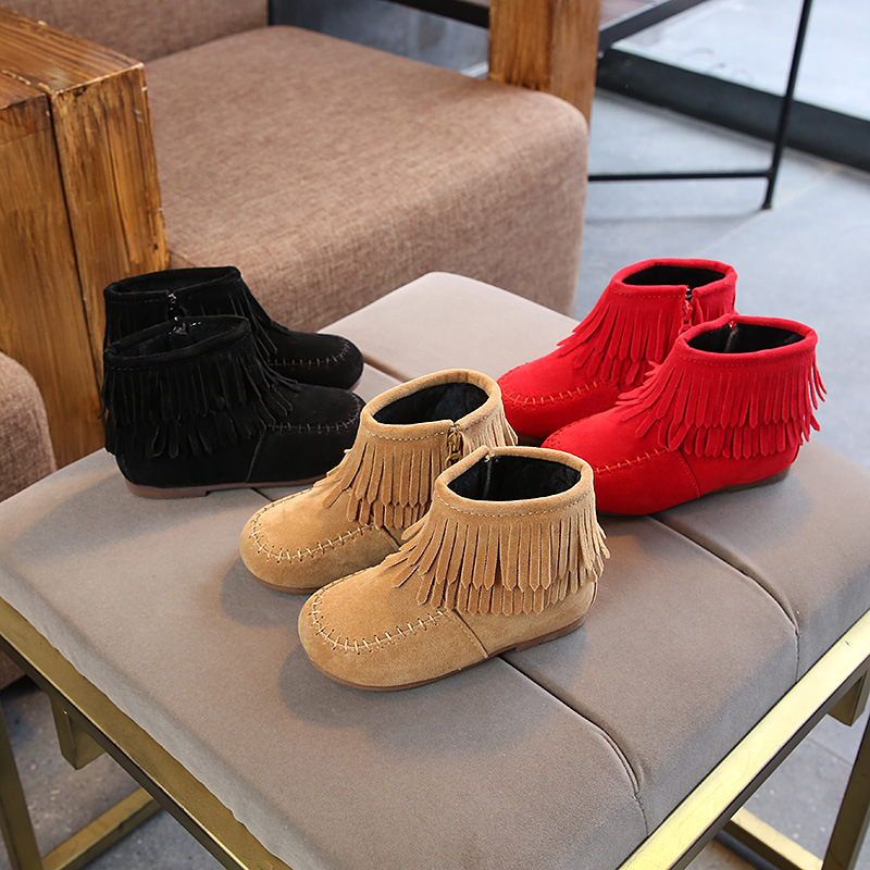 Winter Girls Shoes Booties Plus Velvet Warm Kids Cotton Shoes Fashion Tassels Martin Boots Children Shoes Princess Girls Boots