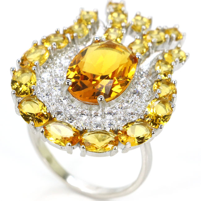 35x26mm Classic Golden Citrine White CZ Woman's Gift Silver Rings