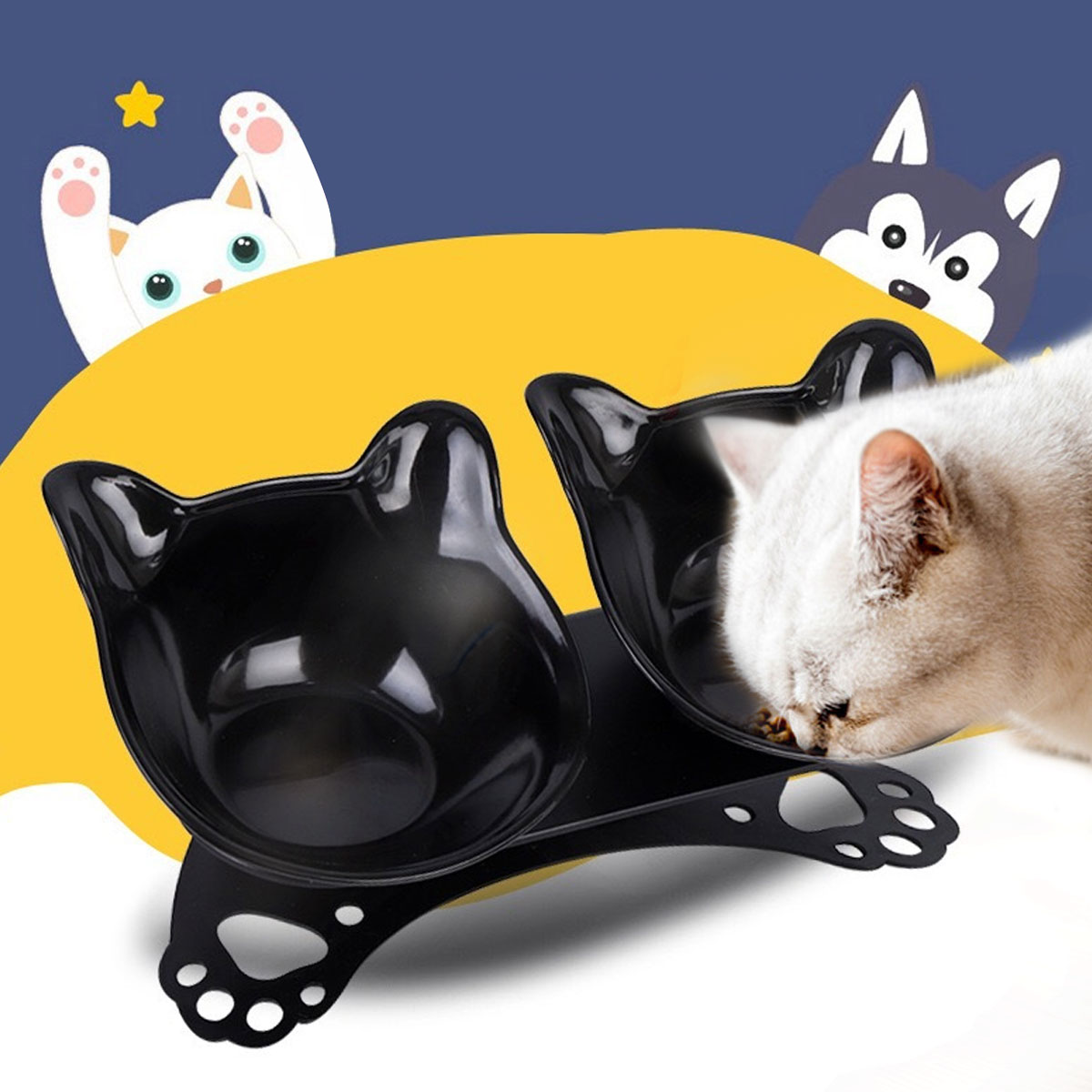 Non slip Cat Bowls Double Bowls With Raised Stand Pet Food And Water Bowls For Cats Dogs Feeders Cat Bowl Pet Supplies 1