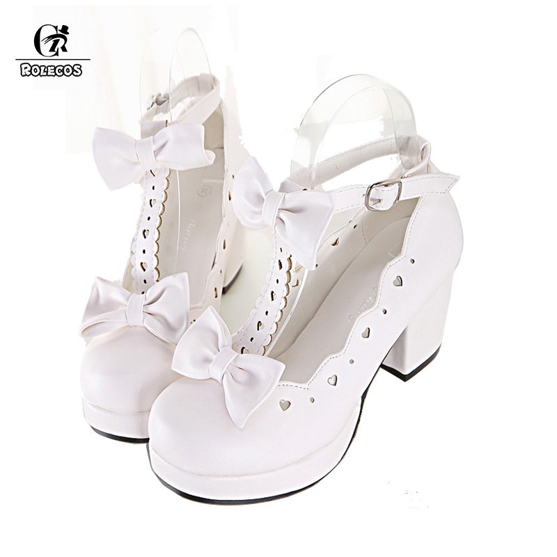 ROLECOS Sweet Lolita Shoes Women High Heels Cosplay Shoes Anime Expo Lolita Single Shoes Female Princess Cute