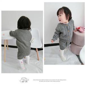 Image 3 - Filles vêtements ensembles pur coton tricot costume à manches longues veste Shorts deux pièces filles vêtements filles vêtements ensembles