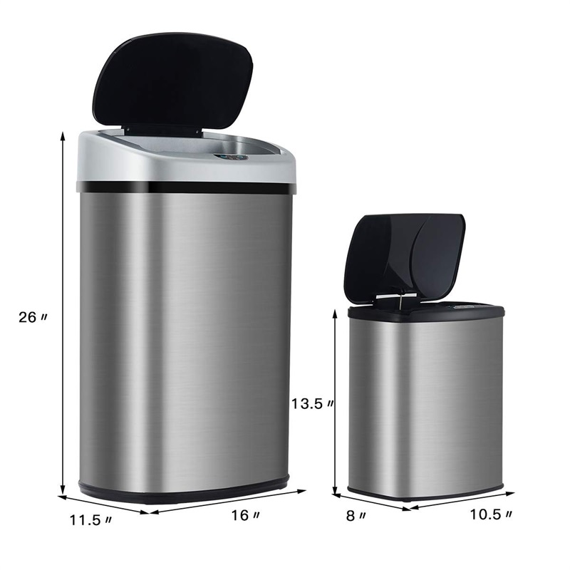 Set Of 2 Touch Free Motion Sensor Bin Trash Can 13 2 3 Gallon Stainless Steel Home Garden Rateshop Household Supplies Cleaning
