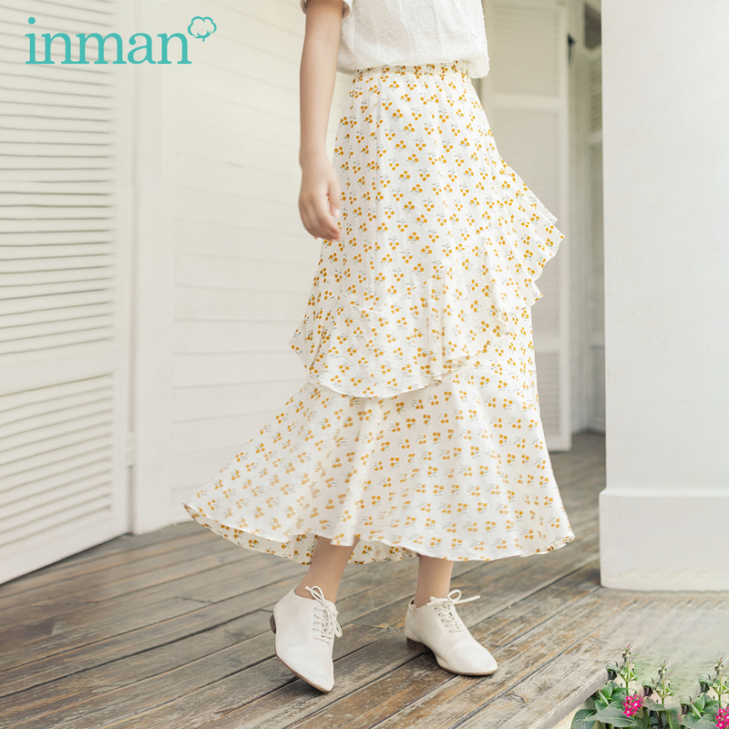 INMAN 2020 Summer New Arrival Sweet Style Artsy High Waist A Line Irregular Floral Pattern Layered Skirt