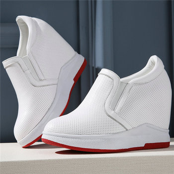 Fashion Sneakers Women Genuine Leather Wedges High Heel Vulcanized Shoes Female Breathable Pointed Toe Pumps Shoes Casual Shoes