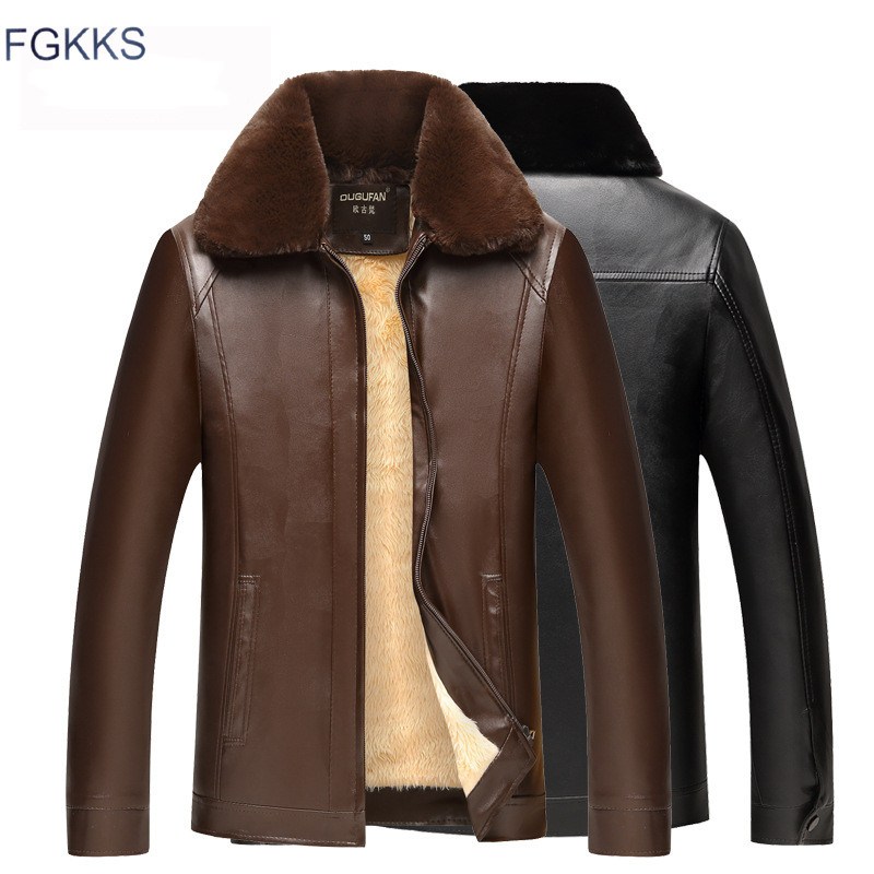 FGKKS Winter Brand Men's PU Leather Jackets Men Plus Velvet High Quality Leather Coat Male Casual Fur Collar Faux Leather Jacket