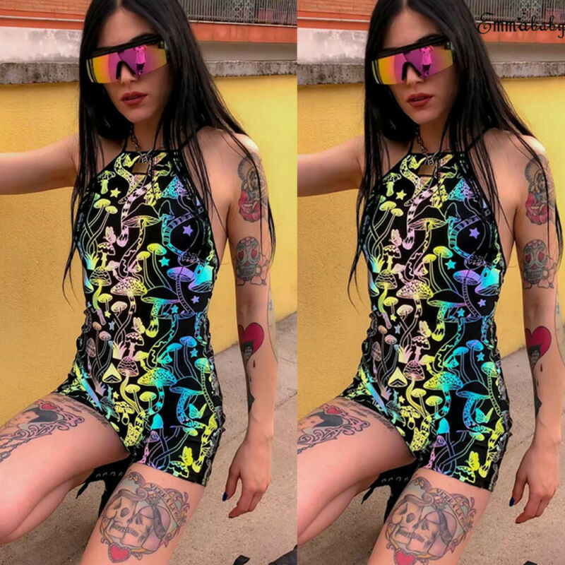 Goocheer print backless halter sexy playsuit 2019 summer women fashion club streetwear bodycon bandage body in Rompers from Women 39 s Clothing