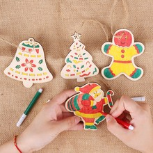 Christmas Decoration Wooden DIY Pendant Childrens Coloring Board Color Painting Tree L0903