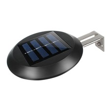 2PCS Solar Wall Light Yard Fence Night Pathway Outdoor Garden Gutter Wall Mount Home Grille Light 9 LED Waterproof Sink Round Li(China)