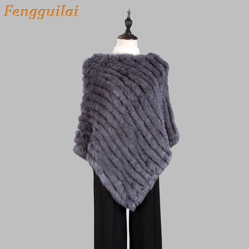 Spring autumn Knitted Fur Poncho Wrap scarves women natural triangle Cape