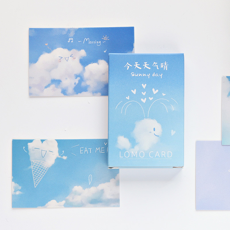 28 Sheets/set Cute Postcard Cartoon Clouds Mini Postcard Message Card Letter Paper Card Wish Card Christmas And New Year Gifts