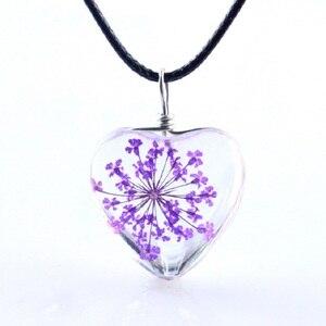 Image 5 - 1 pc cristal de vidro seco flor pingente de trevo colar moda pequeno fresco casal decoração presente aniversário jóias homem e mulher