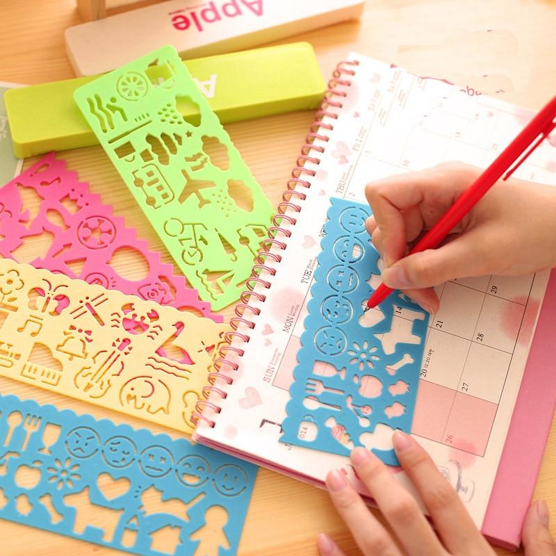 4 Pcs /lot Cute Art Graphics Symbols Drawing Template Ruler Student Kids Stencil Rule Stationery 06008