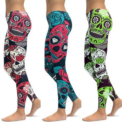 Print  Women Fitness Leggings Workout High Waist Sports Running Leggings Sexy Push Up Gym Wear Elastic Slim Pants Pakistan
