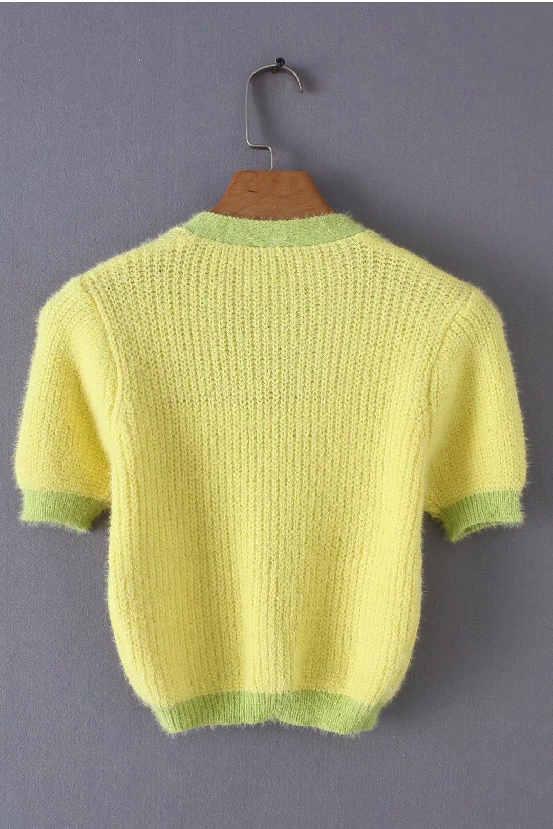 Pink cardigan womens sweaters korean crop sweater yellow autumn tops short sleeve v neck short cardigan mohair sweater fall 19 11