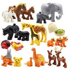 Grandes blocos de construção animais montar acessórios compatíveis com duplos zoo define dinossauro criatividade diy brinquedos para crianças presente
