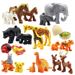 big Building Blocks Animals Assemble Accessories Compatible with Duplos zoo Sets Dinosaur Creativity DIY Toys for children gift