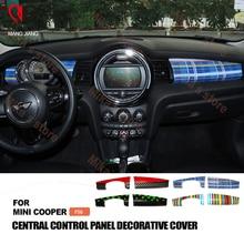 Novo ABS Para mini cooper union jack F56 car styling Instrumento adesivos Placa do Traço painel de Guarnição tampa Decoração Acessórios (2 pcs)
