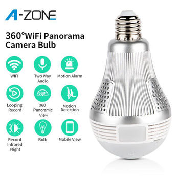 A-ZONE 3.0MP IP 360 Degree Panoramic Light Lamp Camera Home Security Two Ways Audio CCTV Wireless Wifi Bulb Surveillance Camera