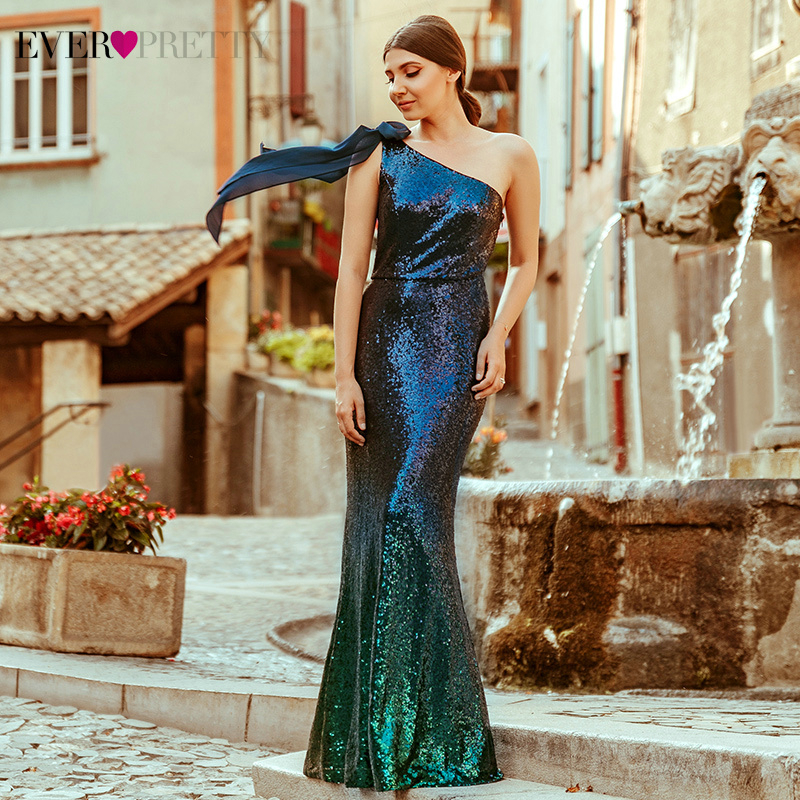Sequined Mermaid Prom Dresses Ever Pretty One Shoulder Bow Sleeveless Sexy Saudi Arabia Evening Party Gowns Vestido Comprido