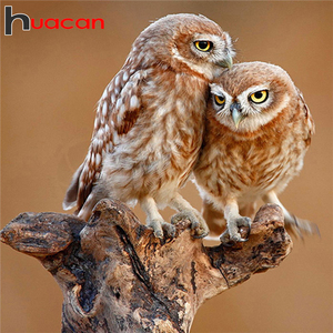 Huacan Full Drill Square/Round Diamond Painting Owl 5D DIY Diamond Embroidery Art Animal Home Decoration